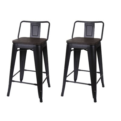 Alric 24 Bar Stool Seat Color: Black, Frame Color: Black