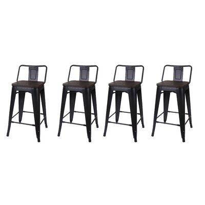 Alric Low Back Metal 24 Bar Stool Frame Color: Black, Seat Color: Dark Wooden