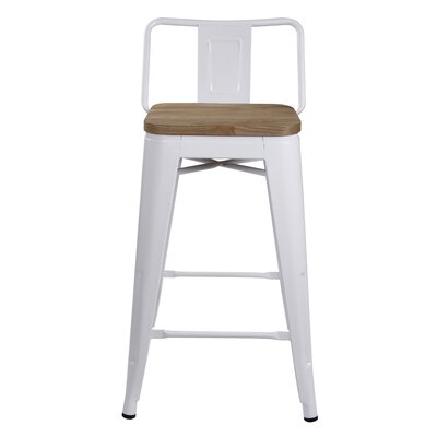 Alric 24 Bar Stool Frame Color: White