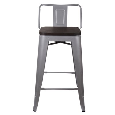 Alric 24 Bar Stool Frame Color: Gray, Seat Color: Dark Wood