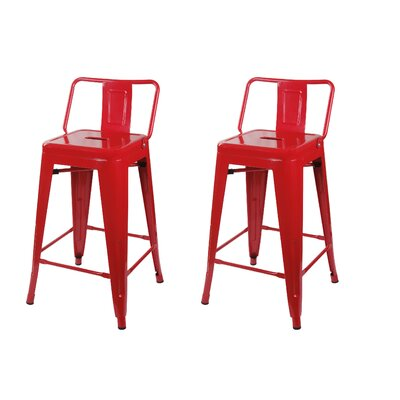 Capucine 24 Bar Stool Color: Red