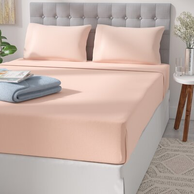 Garrett 800 Thread Count 4 Piece Sheet Set Size: Queen, Color: Shell Pink