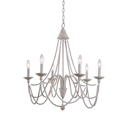 Clayburn 6-Light Candle-Style Chandelier Finish: Weathered White