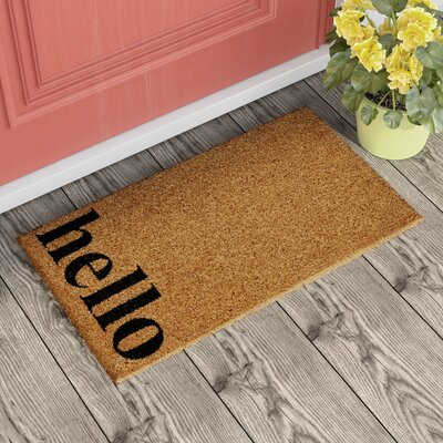 Helsley Vertical Hello Doormat Rug Size: 14 x 24, Color: Natural/Black