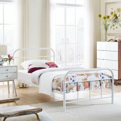 Hartsock Bed Frame Color: White, Size: Twin