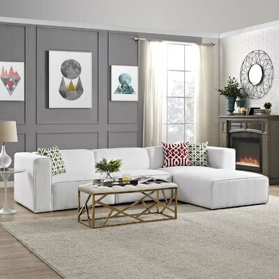 Crick Sectional Upholstery: White