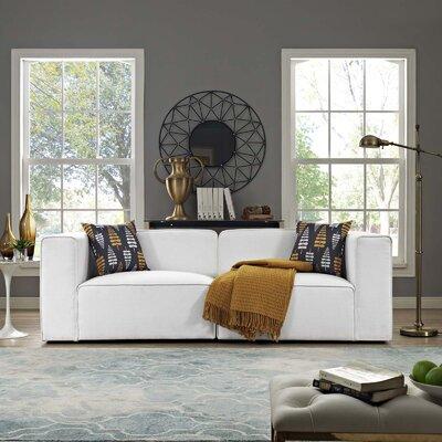 Crick Modular Loveseat Upholstery: White