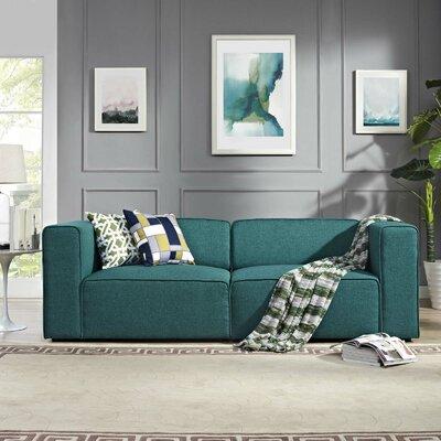 Crick Modular Loveseat Upholstery: Teal