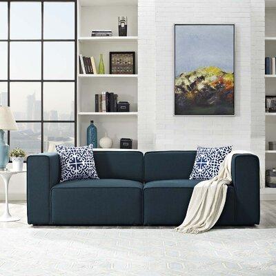 Crick Modular Loveseat Upholstery: Blue