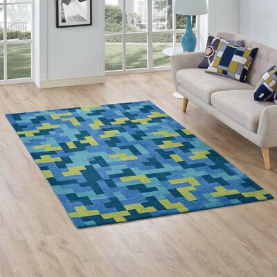 Hartshorn Blue/Light Olive Green Area Rug Rug Size: Rectangle 8' x 10'
