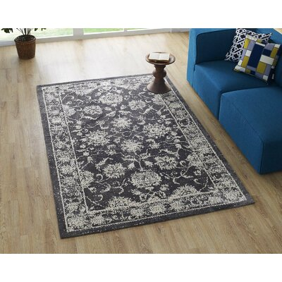 Guynn Dark Gray/Ivory Area Rug Rug Size: Rectangle 8 x 10