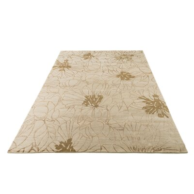 Ebrahimpour Hand-Knotted Beige Area Rug Rug Size: Rectangle 79 x 99