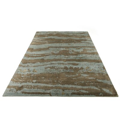 Shaunda Hand-Knotted Aqua/Latte Area Rug Rug Size: Rectangle 79 x 99