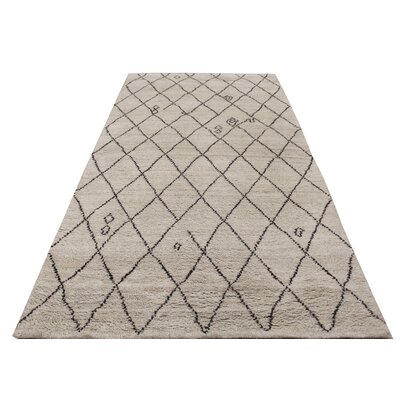 Crosson Hand Knotted Wool Light Tan/Dark Brown Indoor Area Rug Rug Size: Rectangle 6 x 81