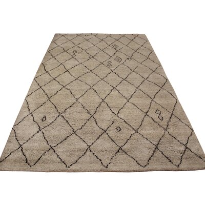 Crosson Hand Knotted Wool Tan/Dark Brown Indoor Area Rug Rug Size: Rectangle 4 x 6