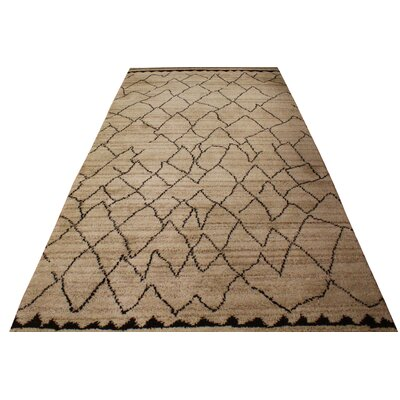 Pegues Hand Knotted Wool Tan/Dark Brown Indoor Area Rug Rug Size: Rectangle 5 x 8