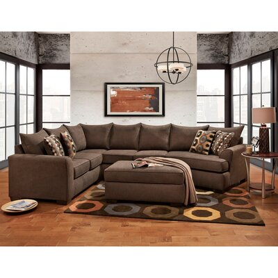 Denissa Sectional with Ottoman Upholstery: Chocolate