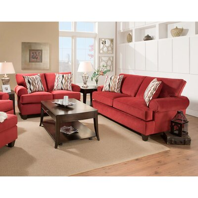 Derell 2 Piece Living Room Set Upholstery: Red