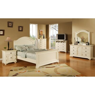 Herren Platform 5 Piece Bedroom Set Bed Size: King, Color: White