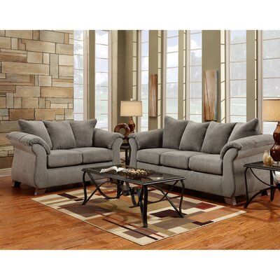 Denys 3 Piece Living Room Set Upholstery: Gray