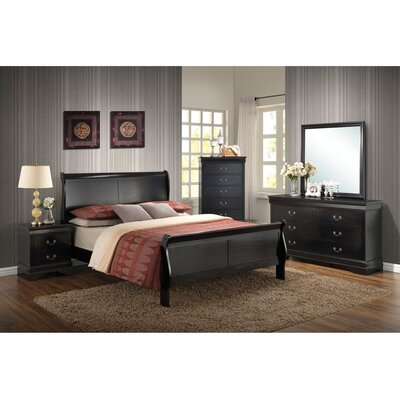 Sahil Sleigh 5 Piece Bedroom Set Bed Size: Queen, Color: Black