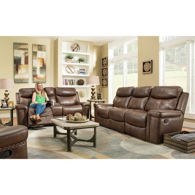 Derrek 3 Piece Leather Living Room Set