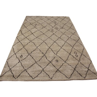 Clinton Hand Knotted Wool Tan/Dark Brown Indoor Area Rug