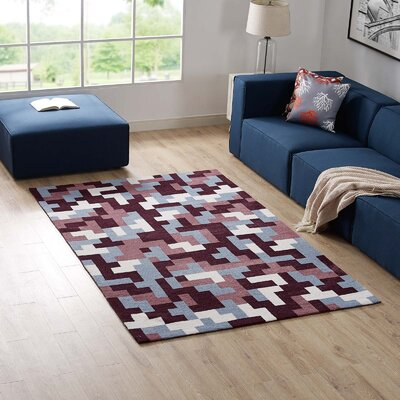 Hartshorn Maroon/Light Blue Area Rug Rug Size: Rectangle 8' x 10'