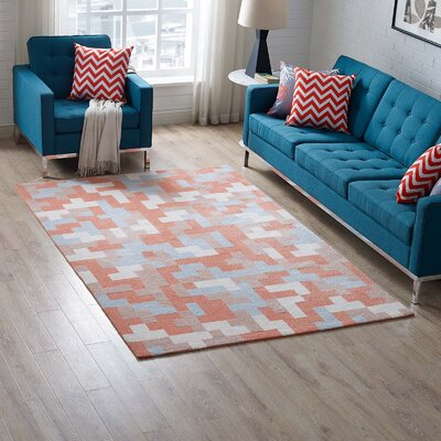 Hartshorn Coral/Light Blue Area Rug Rug Size: Rectangle 5x 8