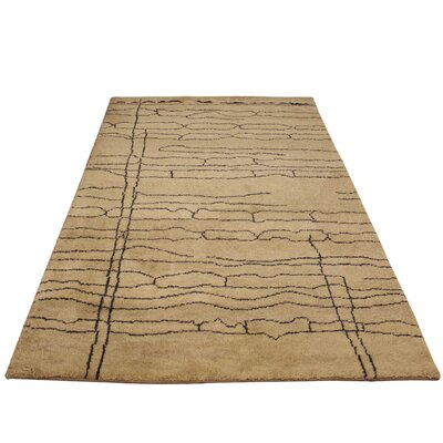 Humes Hand Knotted Wool Tan/Dark Brown Indoor Area Rug