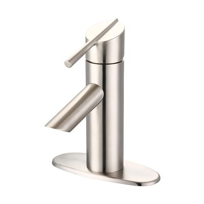 Lavatory Single Hole Handle Bathroom Faucet with Drain Assembly Finish: Brushed Nickel