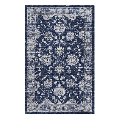 Guynn Dark Blue/Ivory Area Rug Rug Size: Rectangle 5x 8