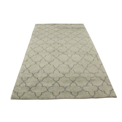 Kirklin Hand Knotted Wool Light Green/Gray Indoor Area Rug Rug Size: Rectangle 51 x 82
