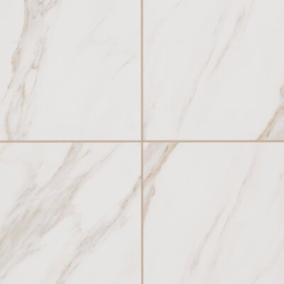 Bradwell Glazed 12 x 12 Porcelain Field Tile in Bianco Cararra