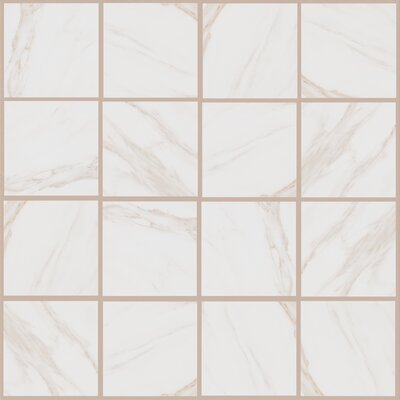 Bradwell 12 x 12 Porcelain Field Tile in Bianco Cararra