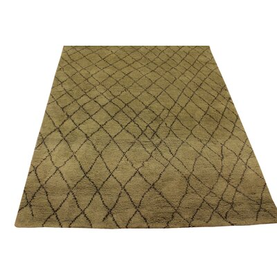 Crosslin Hand Knotted Wool Green/Dark Brown Indoor Area Rug Rug Size: Rectangle 4 x 6