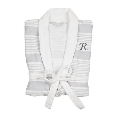 Milton Single Initial Turkish Cotton Bathrobe Letter: R