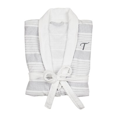 Milton Single Initial Turkish Cotton Bathrobe Letter: T