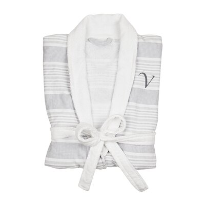 Milton Single Initial Turkish Cotton Bathrobe Letter: V