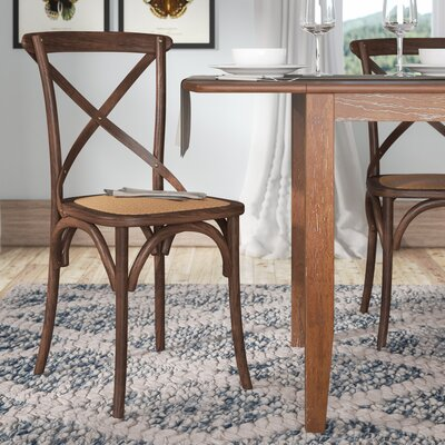 Hyacinthe Crossback Solid Wood Dining Chair Set Finish: Hickory