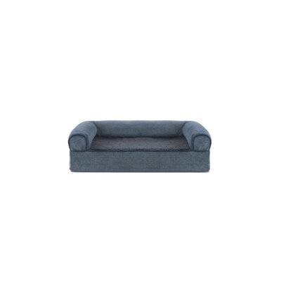 Faux Fleece and Chenille Soft Woven Memory Top Dog Sofa Size: Small (20 W x 15 D x 6 H), Color: Orion Blue
