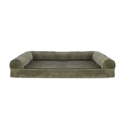 Faux Fur and Velvet Memory Top Dog Sofa Size: Jumbo (44 W x 35 D x 10 H), Color: Dark Sage