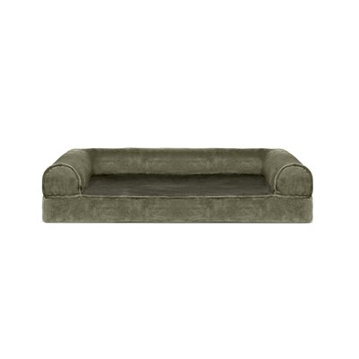 Caddy Faux Fur and Velvet Orthopedic Dog Sofa Color: Dark Sage, Size: Extra Large (44 W x 35 D x 10.5 H)