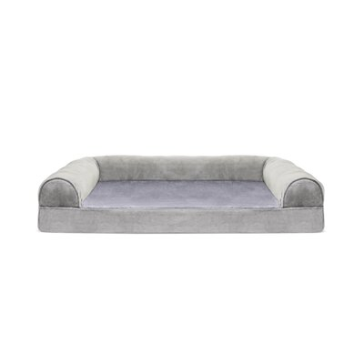 Caddy Faux Fur and Velvet Orthopedic Dog Sofa Color: Smoke Gray, Size: Medium (30 W x 20 D x 7.5 H)