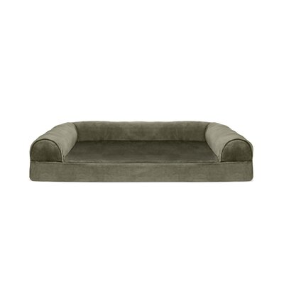 Faux Fur and Velvet Memory Top Dog Sofa Size: Large (36 W x 27 D x 8 H), Color: Dark Sage