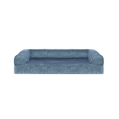 Faux Fur and Velvet Memory Top Dog Sofa Size: Medium (30 W x 20 D x 7 H), Color: Harbor Blue