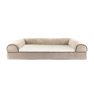Faux Fleece and Chenille Soft Woven Orthopedic Dog Sofa Color: Cream, Size: Large (36 W x 27 D x 8.5 H )