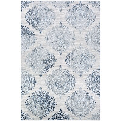 Jakes Steel Blue/Ivory Area Rug Rug Size: Rectangle 53 x 76