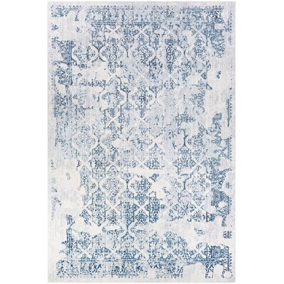 Jakes Steel Blue/Ivory Area Rug Rug Size: Rectangle 710 x 1010
