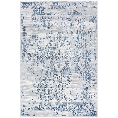 Jakes Steel Blue/Ivory Area Rug Rug Size: Rectangle 92 x 125